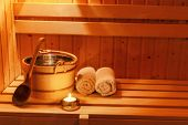 picture of sauna  - cosy atmosphere in the sauna at a spa area of  - JPG