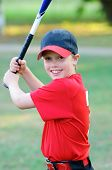image of little-league  - Portrait of little league baseball boy holding bat - JPG