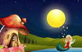 stock photo of fairy-mushroom  - Illustration of a fairy and her mushroom house - JPG