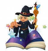 picture of storybook  - Illustration of a storybook about a black witch on a white background - JPG