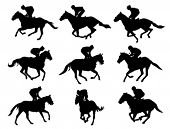 stock photo of galloping horse  - racing horses and jockeys silhouettes - JPG