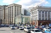 MOSCOW - SEP 17: Building of State Duma next to House Unions on Okhotny Ryad on Sep 17, 2012 in Mosc
