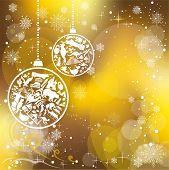 Christmas card with landmarks symbols poster