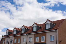 picture of gabled dormer window  - Gable dormers and roof of residential house - JPG