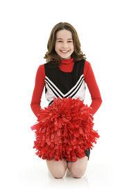 picture of pom poms  - Ten year old caucasian girl dressed as cheerleader - JPG