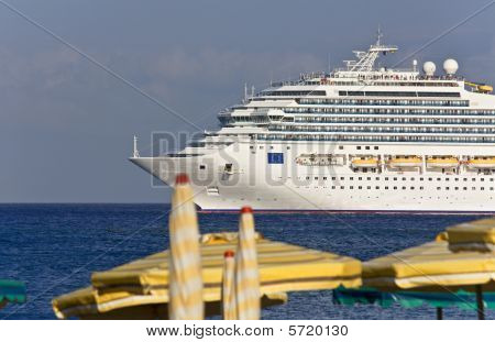 Luxury huge Cruise ship at Rhodes island, Greece