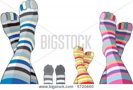 Happy family in stripy socks