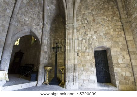 Old historic Templar knights medieval church at Rhodes