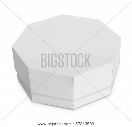 White Octagon Shaped Box
