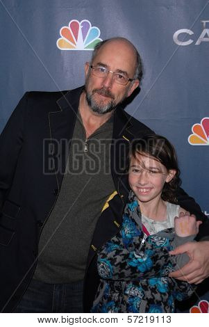 Richard Schiff and daughter at the premiere party for NBC's