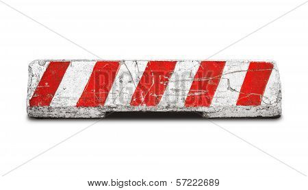 Red And White Striped Concrete Road Barrier Isolated On White