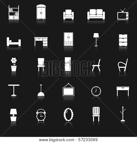 Furniture Icons With Reflect On Black Background