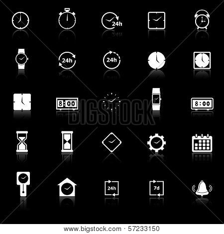 Time Icons With Reflect On Black Background