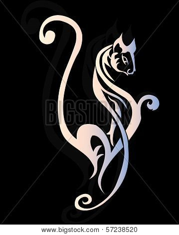Decorative white sexy cat ornamen for tattoo design