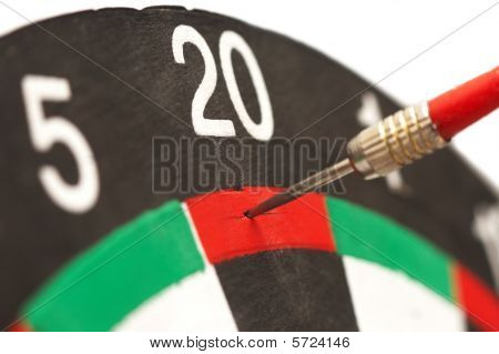 Target board of Darts game with arrows