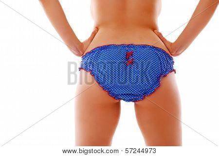 Woman Back In Vlue Panties
