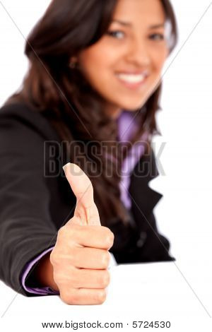 Thumbs-up Business Woman