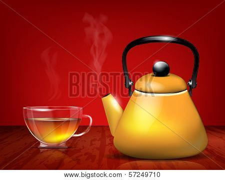 Yellow metal teapot and glass cup of tea