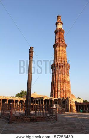 Iron Pillar With Qutub Minar
