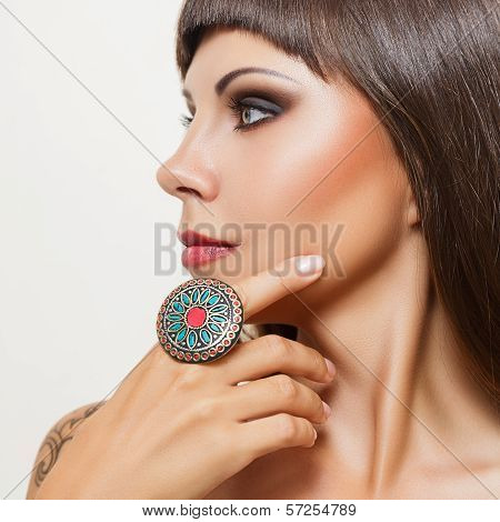 Young Woman With Big Indian Ring