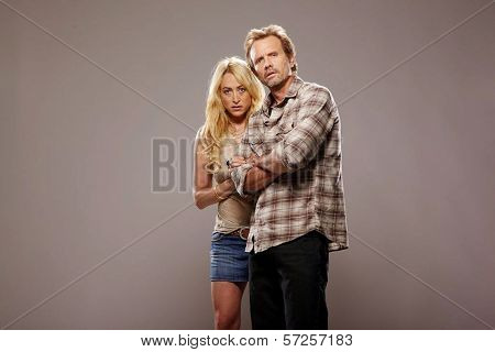 Jennifer Blanc and Michael Biehn On the Set of