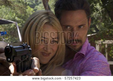 Jennifer Blanc and Denny Kirkwood On the Set of
