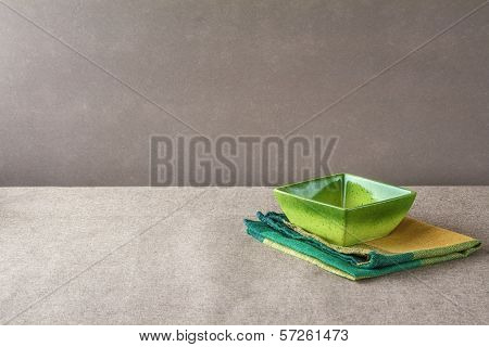 Bowl Napkin Grunge Background Empty