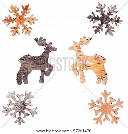 Reindeer And Snowflakes Cut Out Of Birch Bark