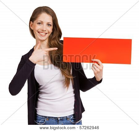 Cute Woman Holding A Red Placard