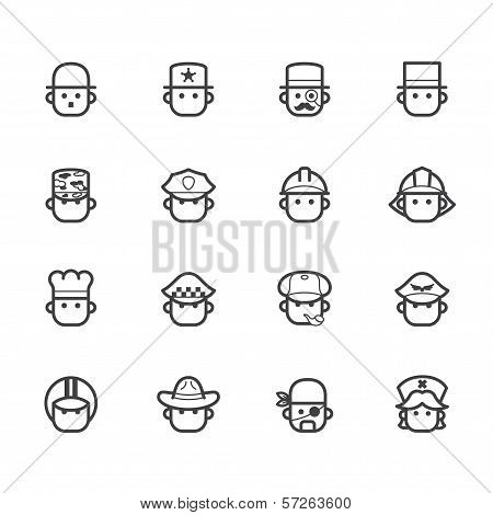 Occupation Black Vector Icon Set 1 On White Background