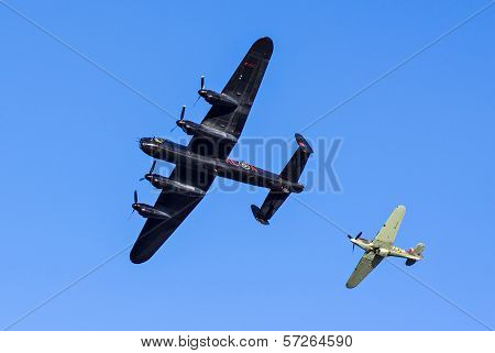 Lancaster Bomber And Hawker Hurricane