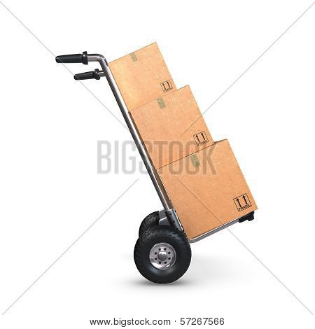 Hand Truck Tilted With Three Boxes Profile