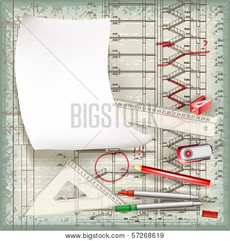 Architectural Drawing In The Process Of Correction. Eps10