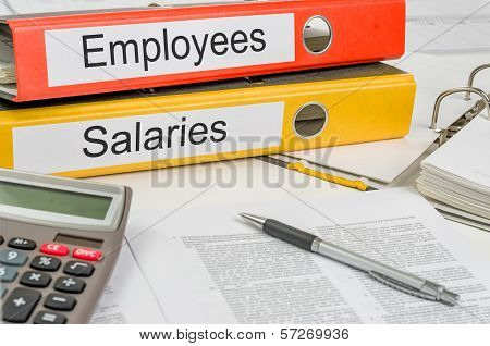 Folders with the label Employees and Salaries