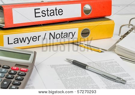 Folders with the label Estate and Lawyer