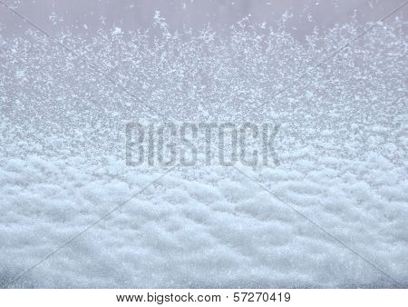 Isolated Snow On Car Window From The Inside