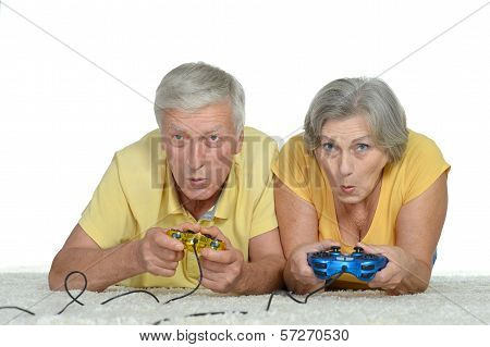 Senior Couple Plays Video Game