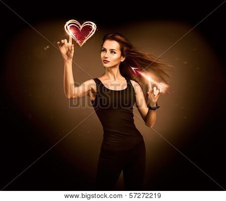 Woman Aiming to the Glowing Heart with an Arrow
