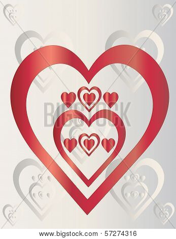 Red hearts on gray background
