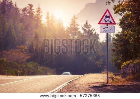 Mountain Tortuous Road In Sunset Time