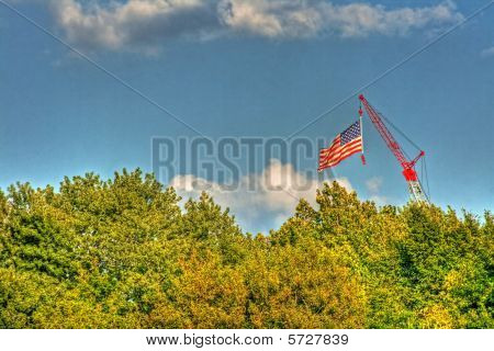 American Flag In Hdr