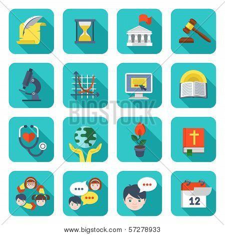 Square School Icons Set