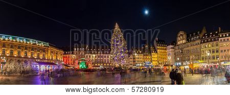 Christmas Tree With Christmas Market At Kleber Square In Strasbourg, France
