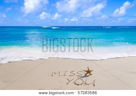 "Sign""miss You"" With Starfish On The Beach"