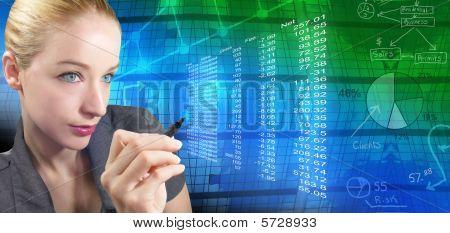 Financeira mulher com gráficos abstratos