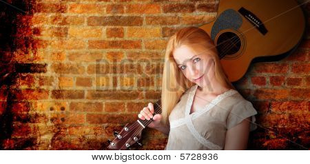 Acoustic Guitar Girl Abstract Brick Background