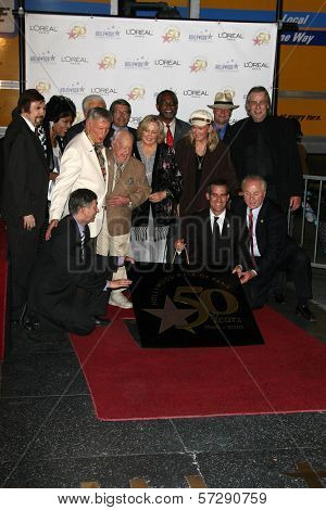 Roger Williams, Mickey Rooney, Jan Rooney, Diane Ladd, Jim Ladd and Bob Barker  at thr Hollywood Walk of Fame's 50th Birthday Bash,  Kodak Theater Grand Ballroom, Hollywood, CA. 11-03-10