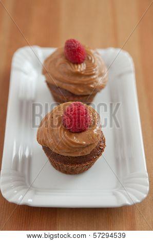 Chocolate Cupcake with raspberries