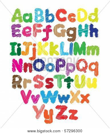 Alphabet kids doodle colored hand drawing