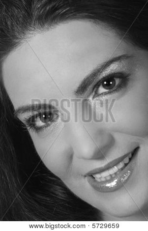 Beauty Woman Smile With White And Black Balance